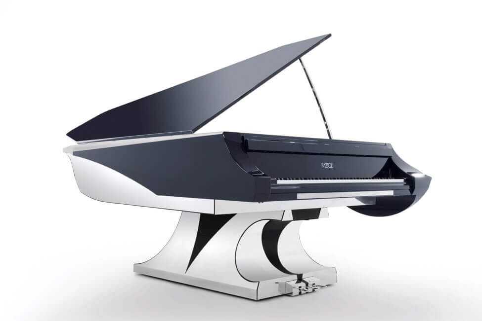 The Fazioli Aria grand piano which was specifically designed for use on a yacht by NYT Line and Philippe Gendre.
