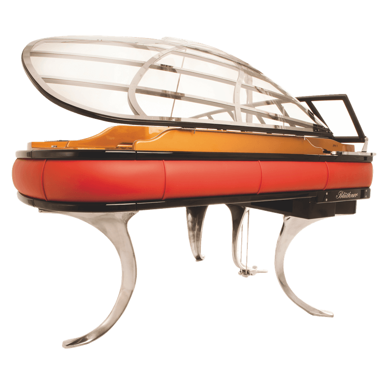 Bluthner PH grand piano with red trim