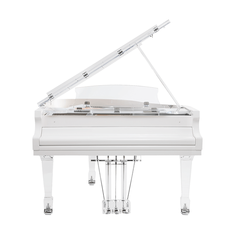 Transparent baby grand piano