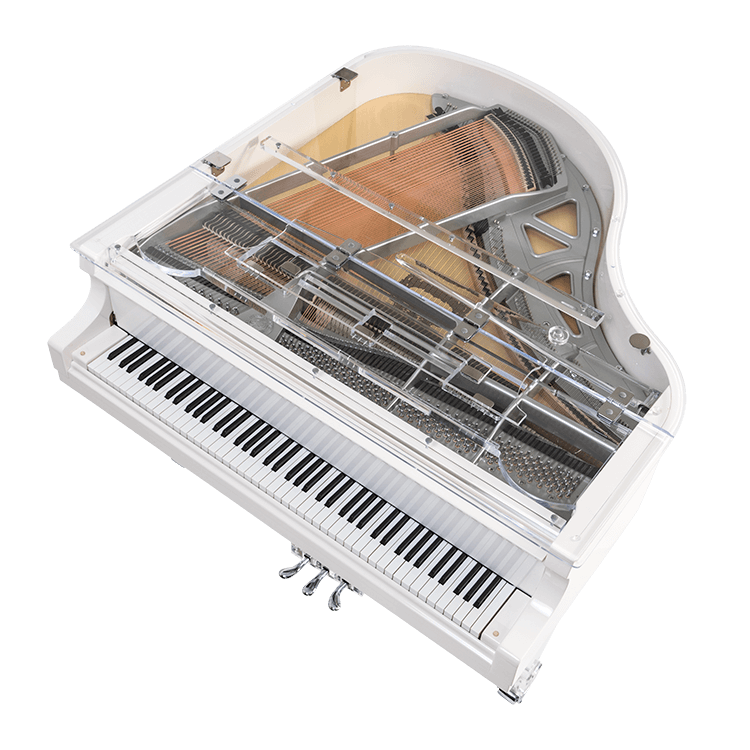 See through baby grand piano