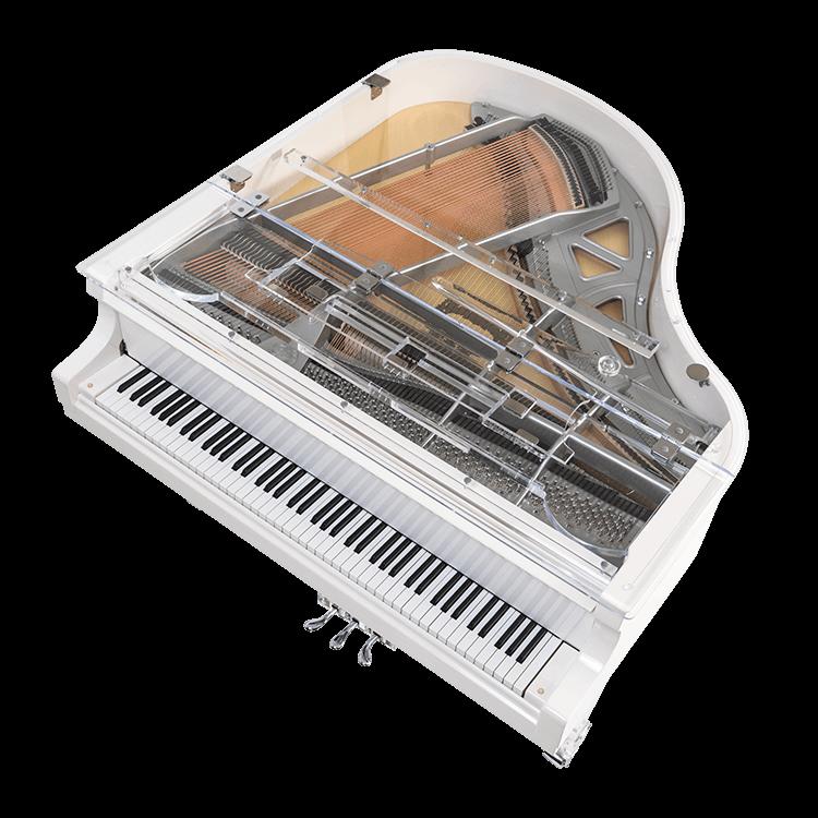 See through baby grand piano