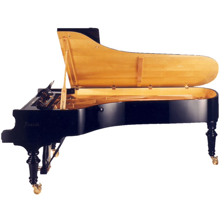Fazioli Strauss piano with light wood finish inside