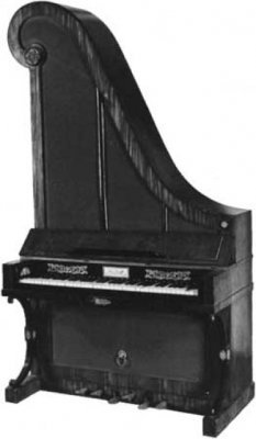 """Giraffe-style"""" piano, an upright piano in Biedermeier style, by Gebroeders Muller.  Courtesy of the Centraal Museum, Utrecht, The Netherlands"""