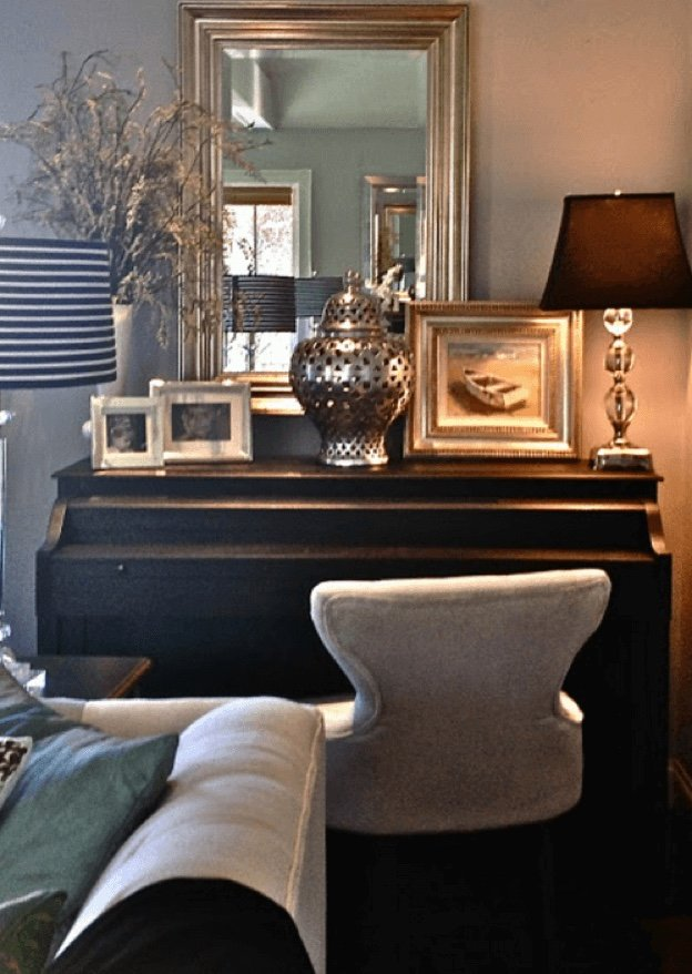 Petite upright piano at home
