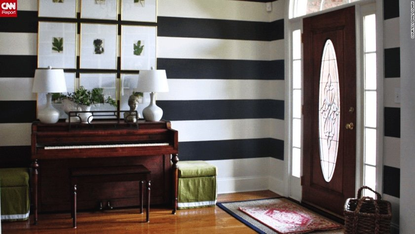 small Upright Piano in hallway