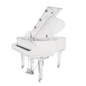 The Aire acrylic baby grand piano designed and sold by Euro Pianos