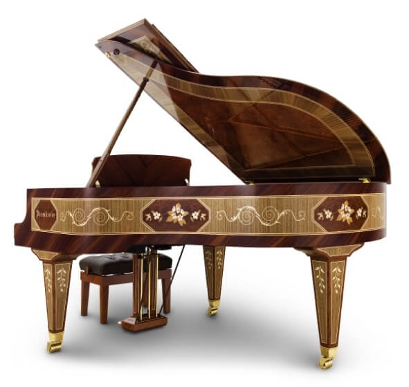 Luxury wood veneer piano for a yacht