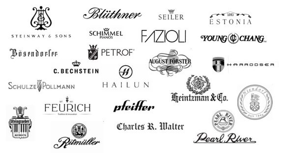 logos of different piano brands