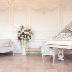 traditional white grand piano
