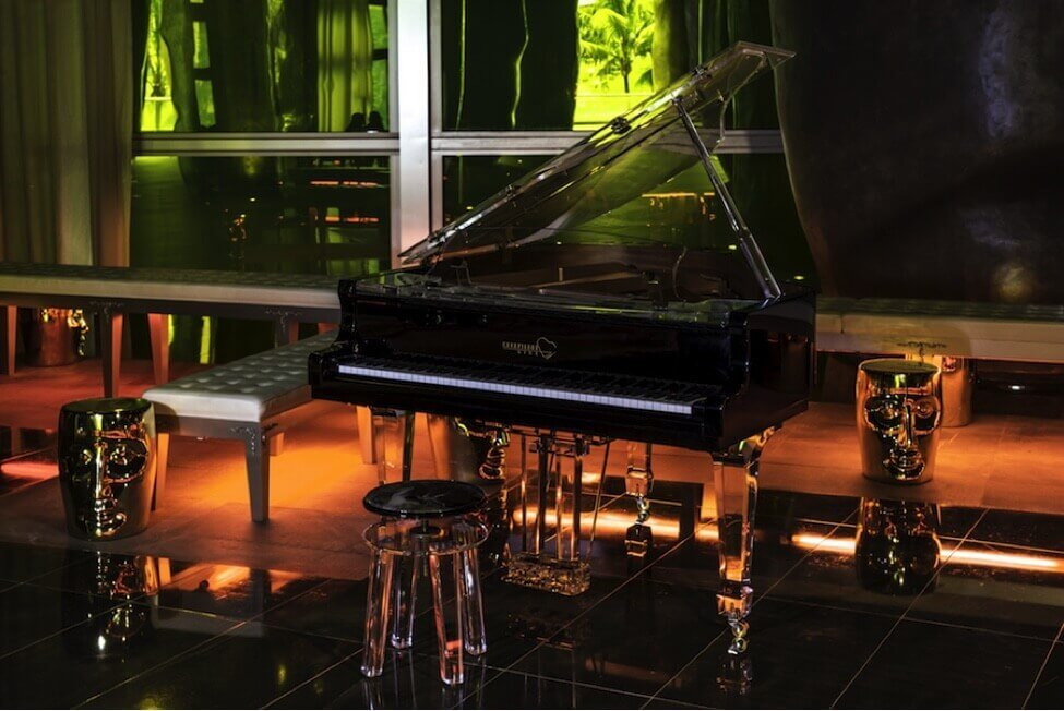 """""""Aire"""" in gloss black photographed in the lobby of Philippe Starck's Miami Icon building."""