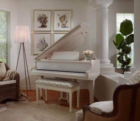 white piano matching decor