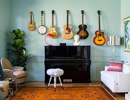 piano with guitars in a room