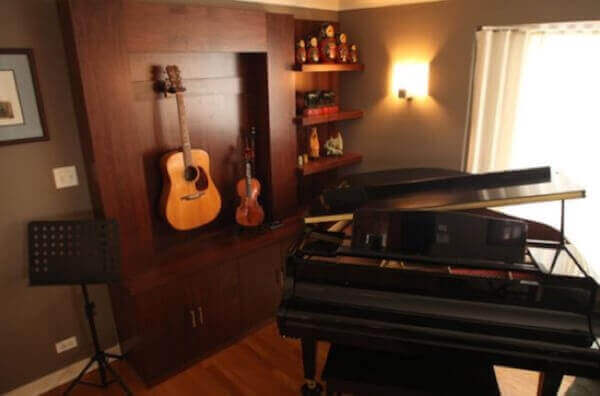 Piano room ideas how to decorate room around a piano for Piano room decor