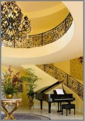 decorating a staircase with piano