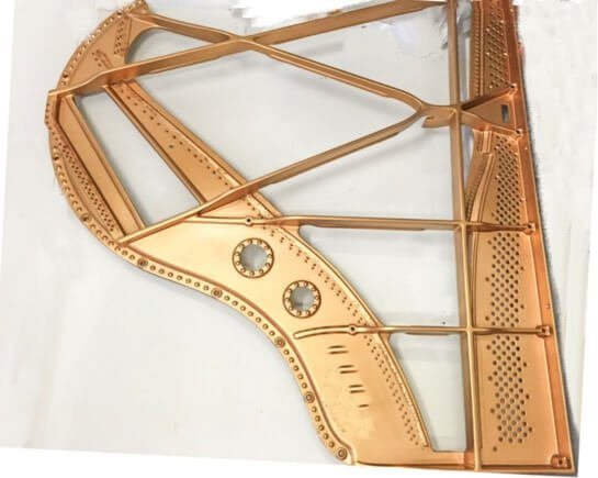 Sample of one of many designs of a sandcast metal piano harp