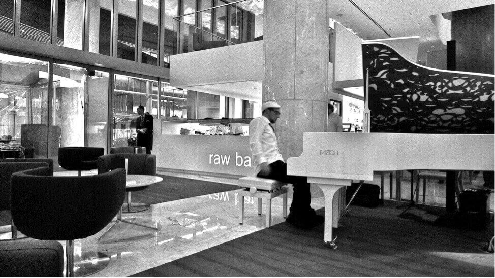 Fazioli piano in a lobby