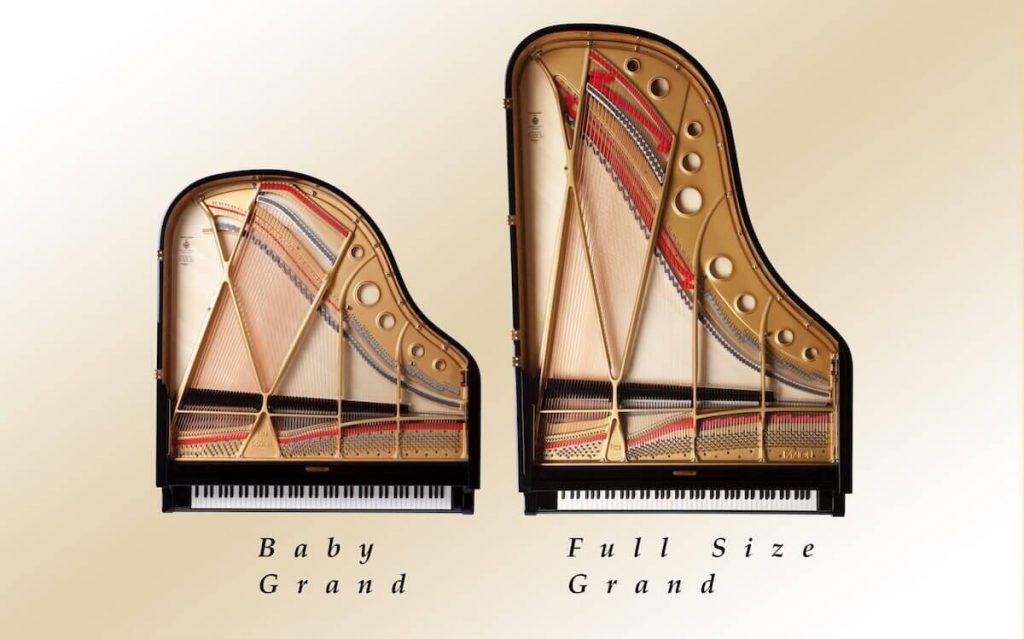 baby grand vs grand piano size
