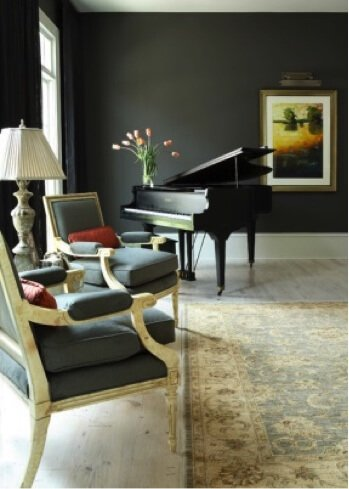 black grand piano in living room