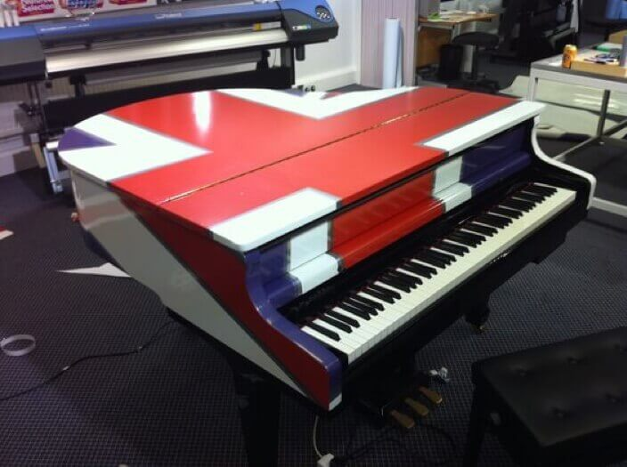 british flag on a piano