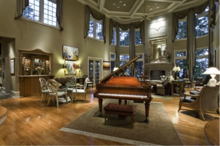 piano in large living room