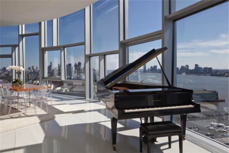 baby grand in modern living room