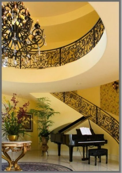 baby grand under staircase