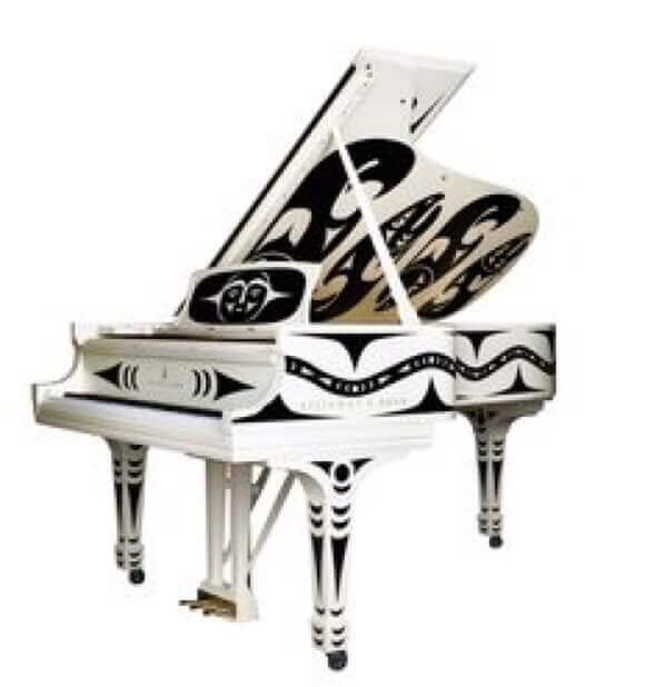 steinway piano with drawing and design