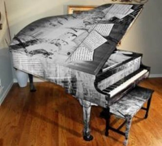 wrapped grand piano