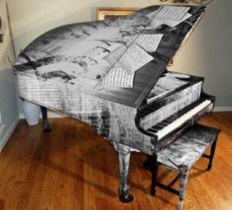 wrapped grand piano
