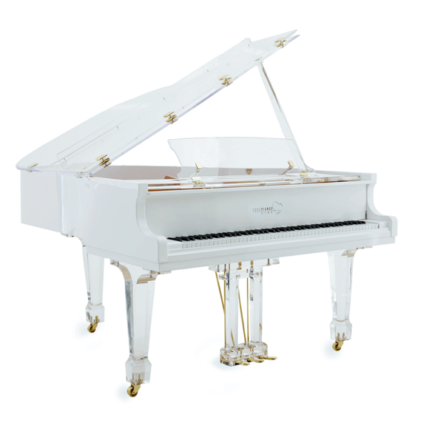 Aire Transparent piano in white trim with brass