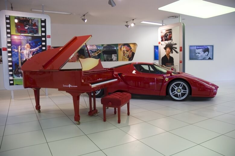 Red Schulze Pollman grand piano