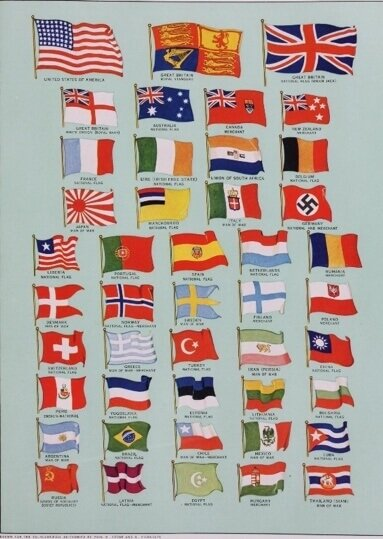 national flags with red color