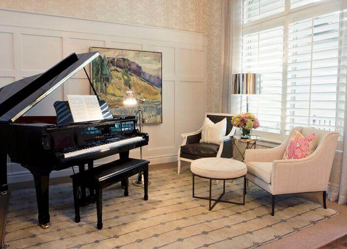 baby grand piano in a small space