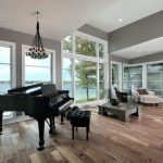 contemporary living room with a piano