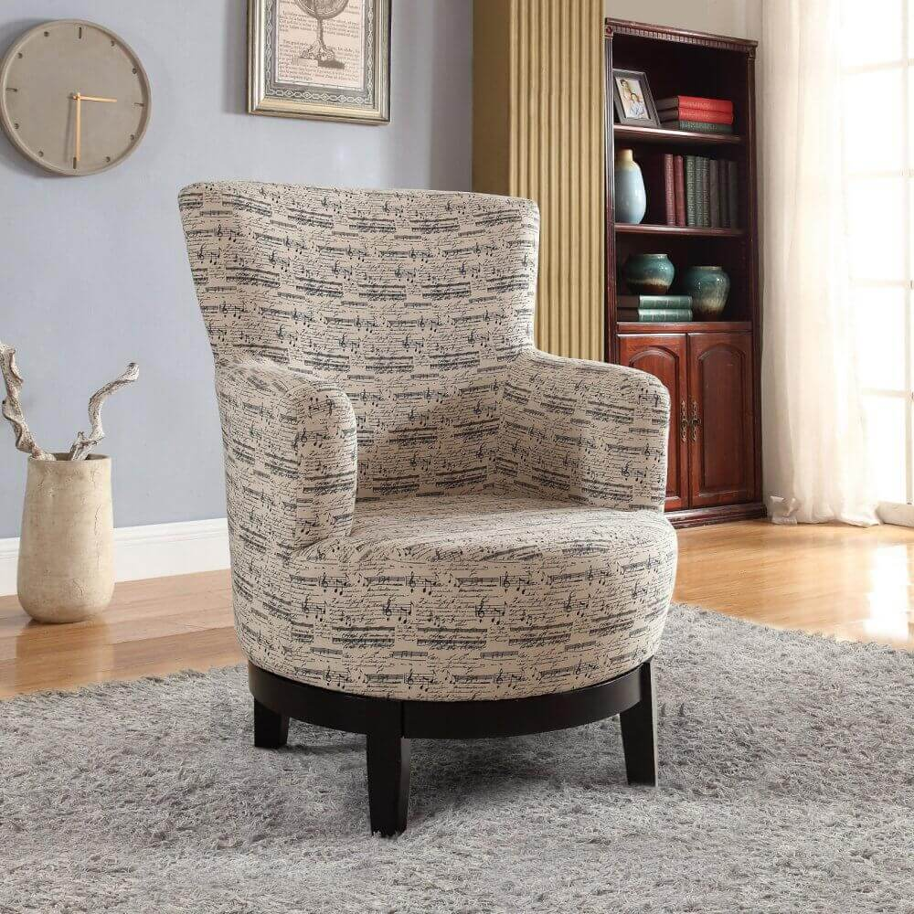upholstery fabric chair with music notes