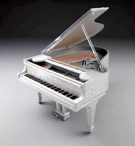 Goldfinch Swarovski crystal piano