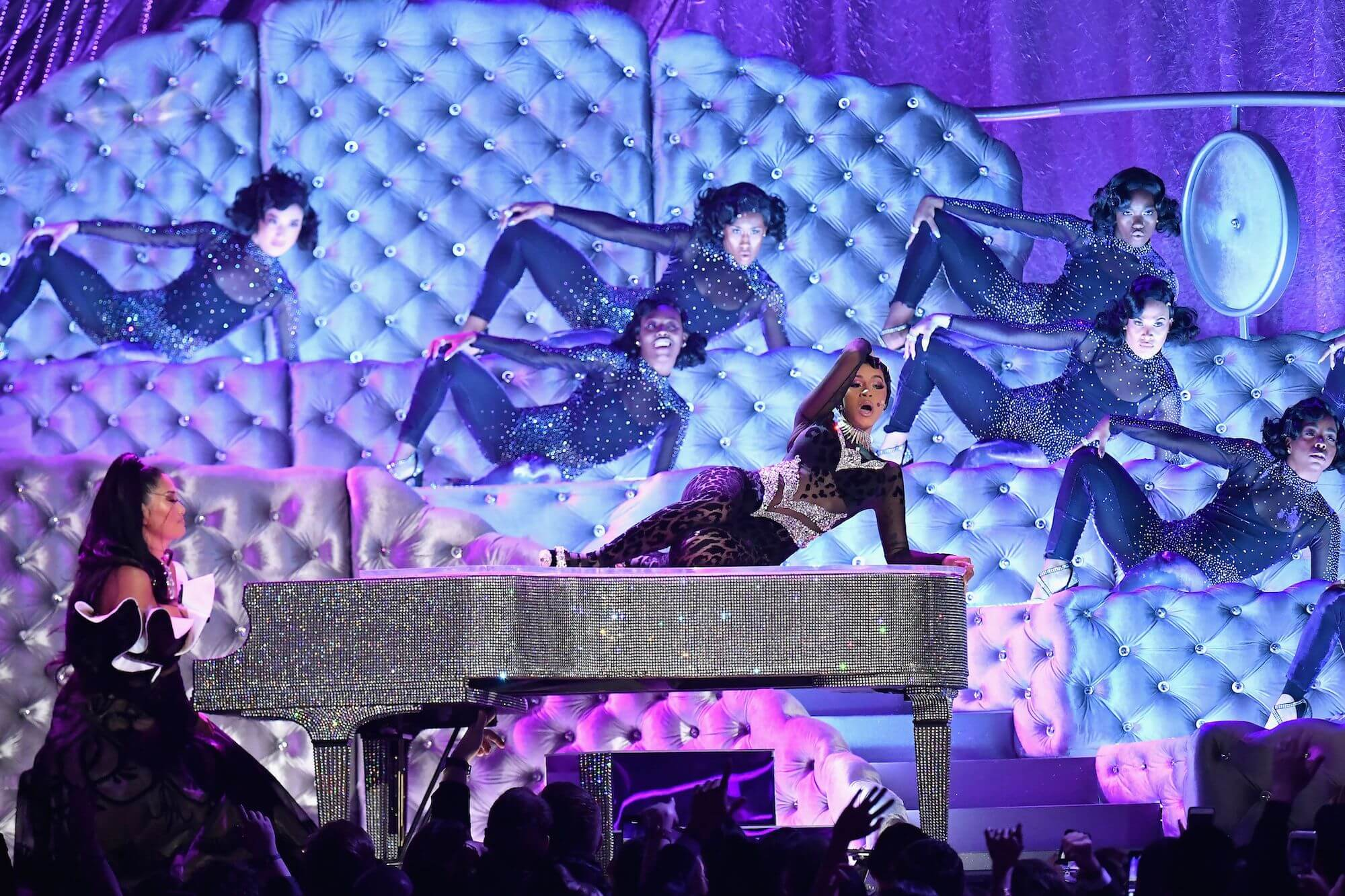 Chloe Flower, Cardi B and the Liberace Crystal Piano at the 2019 Grammy Awards