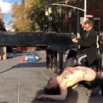 Naked performance with the piano at Washington Square