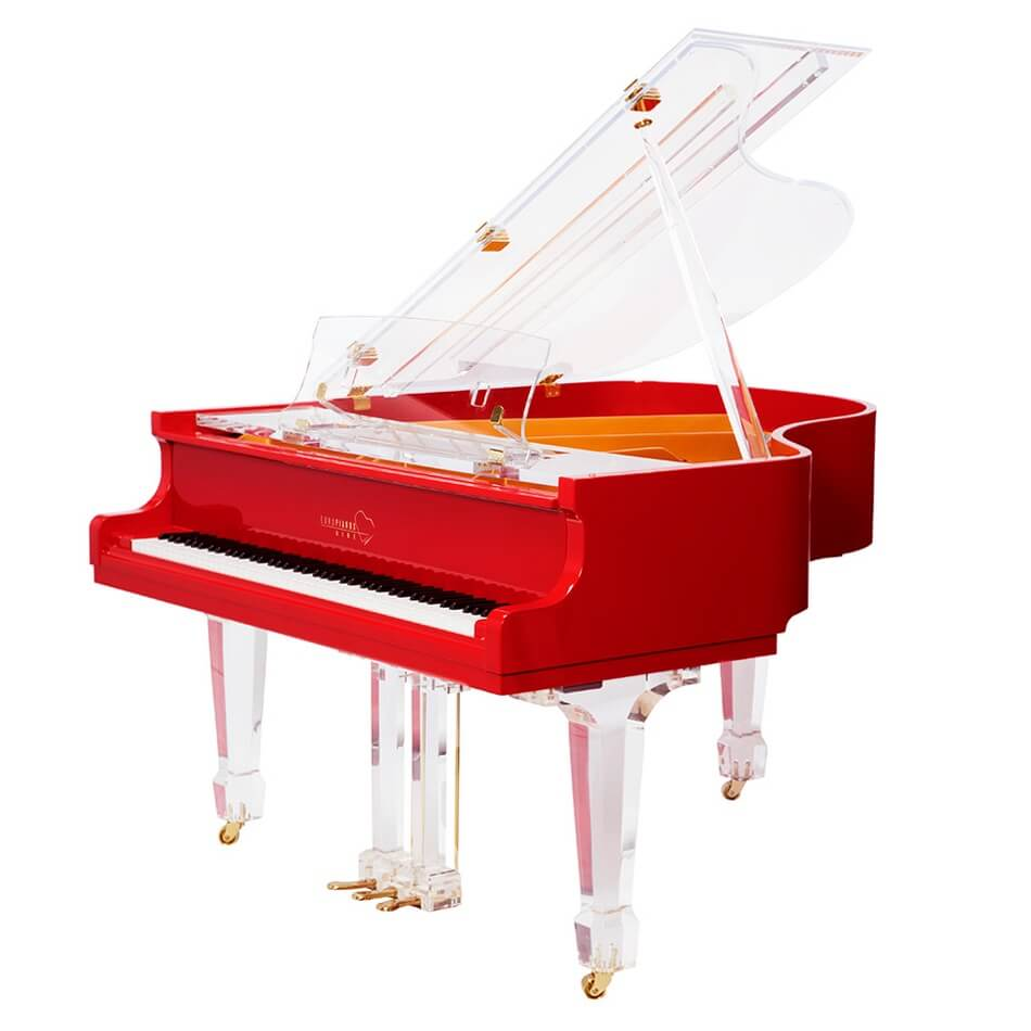 Clear Baby Grand Piano For Sale: Red Baby Grand Piano For Sale