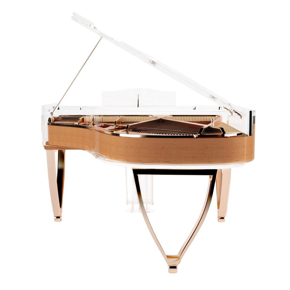 Bluthner Lucid custom design waxed alder and rose gold grand piano with wishbone legs