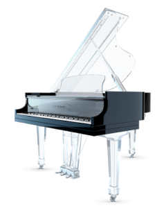 "Affordable semi-transparent ""Aire"" baby grand by Euro Pianos Naples"