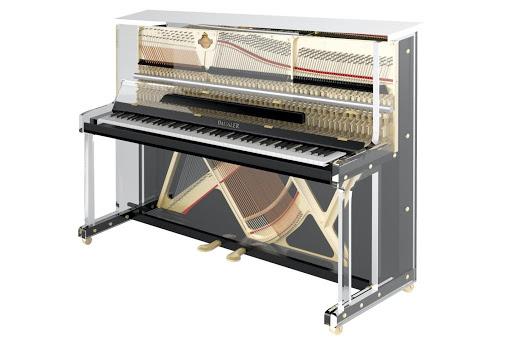 black lucid upright piano