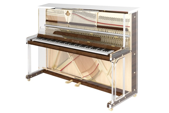 upright transparent piano
